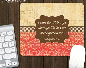 Scripture Mouse Pad ~ I Can Do All Things Through Christ, Philippians 4:13 Mouse Pad, Personalized Bible Mouse Pad, Bible Verse Pad A0001