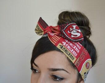 san francisco 49ers, headband, Dolly bow head bands, head band, hair bow