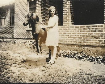 A Natural Trainer - Antique 1910s Girl and Shetland Pony Photograph