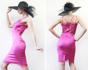 Vintage sexy bright pink cocktail bandage hourglass fitted sheer lace cut out midi dress S