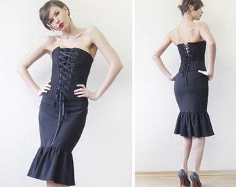 Vintage black cotton semi hard boned corset strapless blouse top S