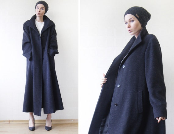 CINZIA ROCCA vintage asphalt grey soft wool simple minimalist trapeze maxi coat Plus Size