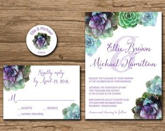 Succulent Wedding Invitation Suite, Response Card, Monogram - PRINTABLE files - garden wedding, rustic wedding, watercolor succulent - Ellie
