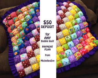 DEPOSIT for any BUBBLE QUILT payment plan from MichellesEye - Custom Made to Order