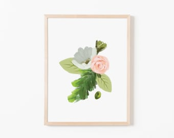 Petals and Pine Single III Nursery Art. Nursery Wall Art. Nursery Prints. Nursery Decor. Wildflower Art. Floral Wall Art. Floral Art Print.