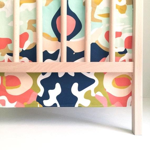 Crib Skirt Coral Jubilee. Baby Bedding. Crib Bedding. Crib