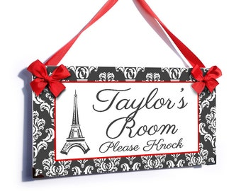 girls room please knock grey damask design door sign eiffel tower french theme - P2025