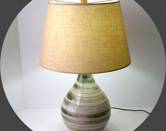 Lg MARTZ LAMP Complete 101 Table 26in Brushed Greens Browns Teardrop Original Shade Finial Marshall Studios Signed MCM Mod Looks Works Great