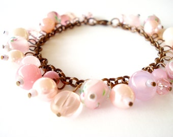 Pink copper colored bead bracelet. Pink Bracelet. Copper Bracelet. Pink bead Bracelet. Linnepin010