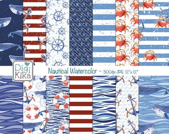 Nautical Watercolor Digital Papers, Nautical Scrapbook Paper - Navy Blue & Red Papers - Sea Background - INSTANT DOWNLOAD