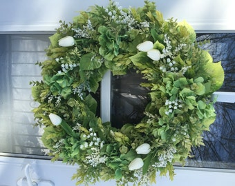 White Tulips with Lily of the Valley and Lush Greens Wreath