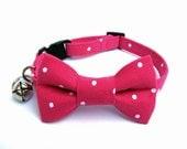 Cat Small Dog Bow Tie Collar, POLKA Dots in FUSCHIA, Handmade