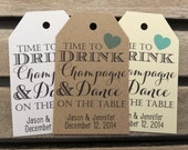 Wedding Gift Tags - Drink Champagne and Dance on The Table - Wedding Favor Tags - Customizable Personalized (WT1676)