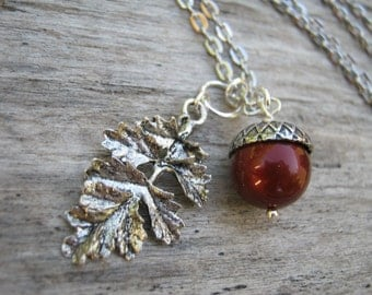 """Personalized Acorn Necklace, Pearl Necklace, Antiqued SILVER Jewelry, Leaf Branch Necklace, Swarovski Pearls, Nature, 18"""" Or CHOOSE Length"""