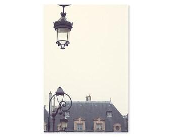 Paris photography, Paris wall art, Place des Vosges, black and white, neutral wall art, Paris decor, Paris in the rain, Paris print wall art