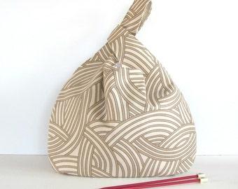 Knot Bag Knitting Project Bag Large Knitting Tote Wristlet Handbag, Geometric Taupe Cream