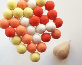 Apricot felt flowers - Wool craspedia