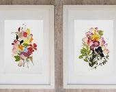 Plant print Wall decor Set of 2 print Dry flower art Botanical print set Pressed flower Original herbarium Nature art floral print framed