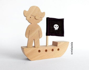 Wooden toy - Pirate ship - gift for boy