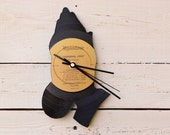 Praying Hands Vinyl Record Clock ~ Upcycled Recycled Repurposed, Handmade, Silhouette Portrait