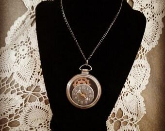 Steampunk locket mad hatter style jewelry hand made pocket watch