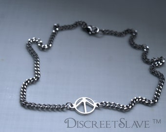 Stainless steel day collar, anklet or bracelet. Male slave, submissive male or owned male and curb link chain. Custom made.