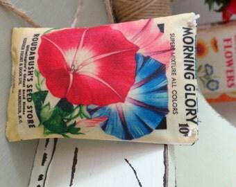 Vintage Floral Seed Packet Lavender Filled Pillow