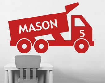 Kids Wall Decal Dump Truck Party Vinyl Wall Decal, Kids Room Decal, Construction Birthday Party, Custom Name Decal, Vinyl Wall Decal