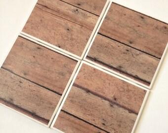 Set of 4 // Wood Coasters // Tile Coasters // Ceramic Coasters // Ceramic Tile Coasters / Drink Coasters / Brown Wood Coasters / Coaster Set