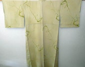 SUMMER SALE 30%off!! - Vintage kimono - Bamboo trees, Hand-dye&Embroidery,  Melon green