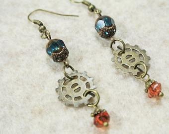Vintaj Brass Steampunk Gears Earrings