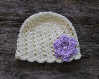 Baby Beanie in Cream with Lavender Purple Flower and Pearl, 0-3 Months