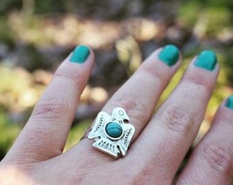 Thunderbird ring / turquoise eagle ring / squash blossom ring / turquoise bird ring