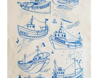 Fishing boats tea towel
