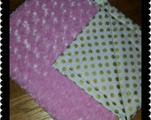 Baby Blanket Gold dot baby blanket with minky stroller blanket carseat blanket girl baby blanket  Ready to Ship