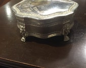 Vintage silverplate lion Jewelry  trinket box vanity box silver blue velvet free shipping sale
