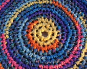 """Carnival Rug 30"""" Crochet Rag Area Rug Round Small Washable Floor Handmade Kitchen Porch Country Bold Girl Blue Turquoise Yellow Coral Purple"""