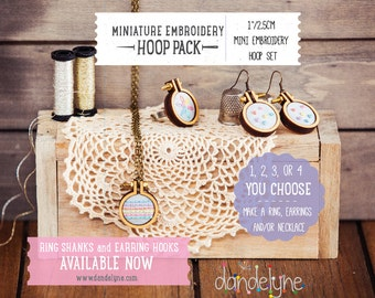 "1""/2.5cm mini embroidery hoop kit ***NEW***  jewellery DIY - earrings, rings, necklaces using the unique Dandelyne miniature hoop"