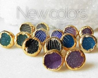 SALE Druzy stud earrings, Gold Dipped, Drusy agate, Druzy Stud, Druzy Earrings