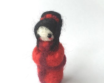 Needle felted geisha girl red hand felted merino wool miniature collectable handmade felted art