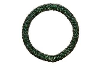 Neon Army Green Crocheted Beaded Bracelet, Made in Nepal, Handmade, Summer, Neon