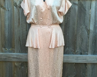 Beautiful Vintage Floor Length Light Peach Pink Dress with Peplum and Bloused Bodice