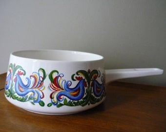 Vintage Fondue Pot, Retro Entertaining, Villeroy and Boch Rooster Design