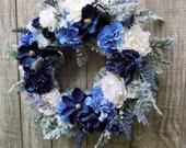 Spring Wreath, Blue White Wreath, Victorian Garden Wreath, Peony Wreath, Blue Hydrangea Wreath, Magnolia Wreath, Large Wreath