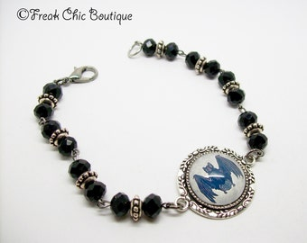 Bat Bracelet, Bat Jewellery, Gothic Bracelet, Crystal Bracelet