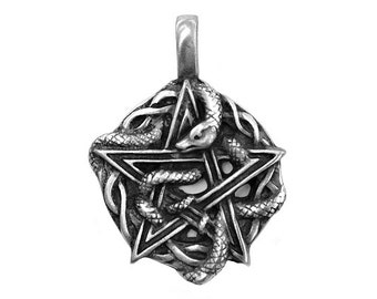 Wiccan Pentagram with Serpent 1.5 inch (36 mm) Pewter Pendant