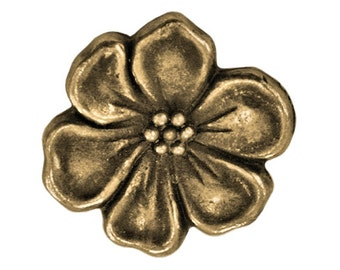 6  TierraCast Apple Blossom 5/8 inch ( 15 mm ) Brass Plated Pewter Buttons