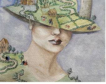 lady atlas--watercolour on paper of a woman holding up the world, so to speak, in the weight of her garments