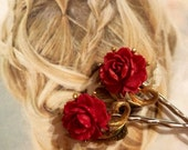 Bridal Hair Pins Jewelry Decorative 1930's Celluloid Red Rose Bobby Pins