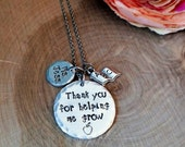 Thank you for helping me grow necklace, teacher necklace, teacher appreciation gift, teacher jewelry, daycare gift, preschool gift